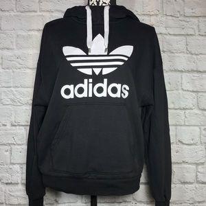 adidas Black & White Hooded Pullover Sweatshirt